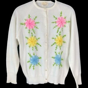 Vintage 1950s Embroidered Cardigan Sweater S/M